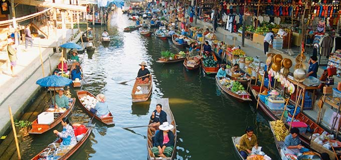 The Floating Markets in Bangkok