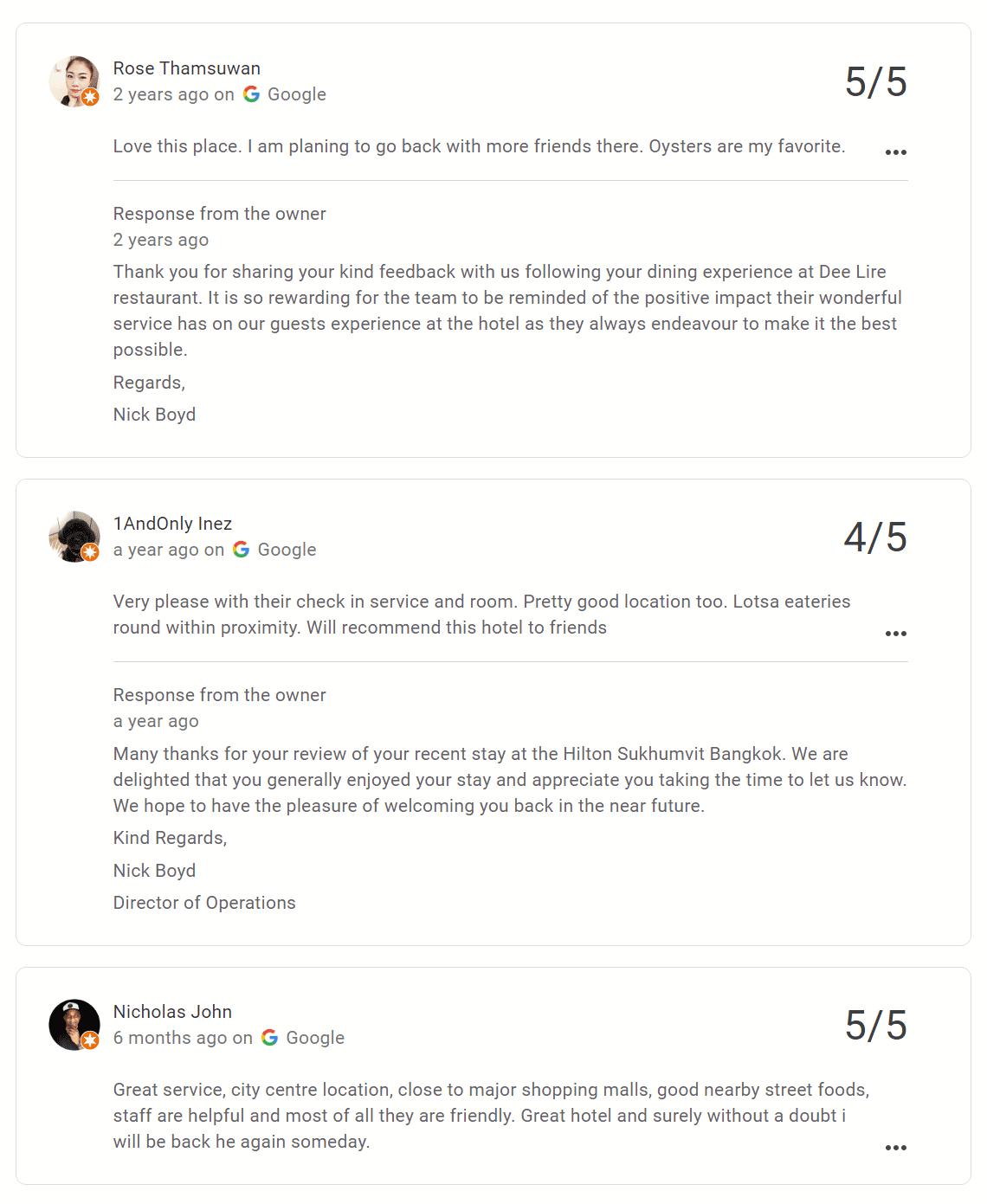 DoubleTree by Hilton Google Reviews